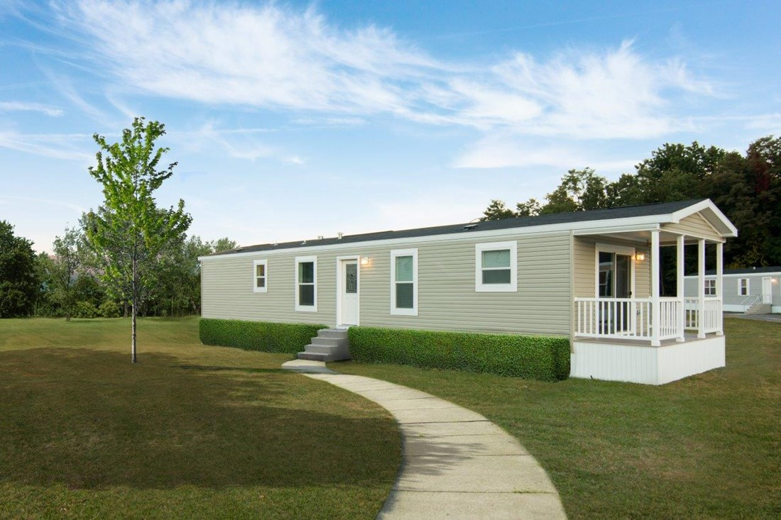 The LECCE 6014-1632 Exterior. This Manufactured Mobile Home features 2 bedrooms and 1 bath.