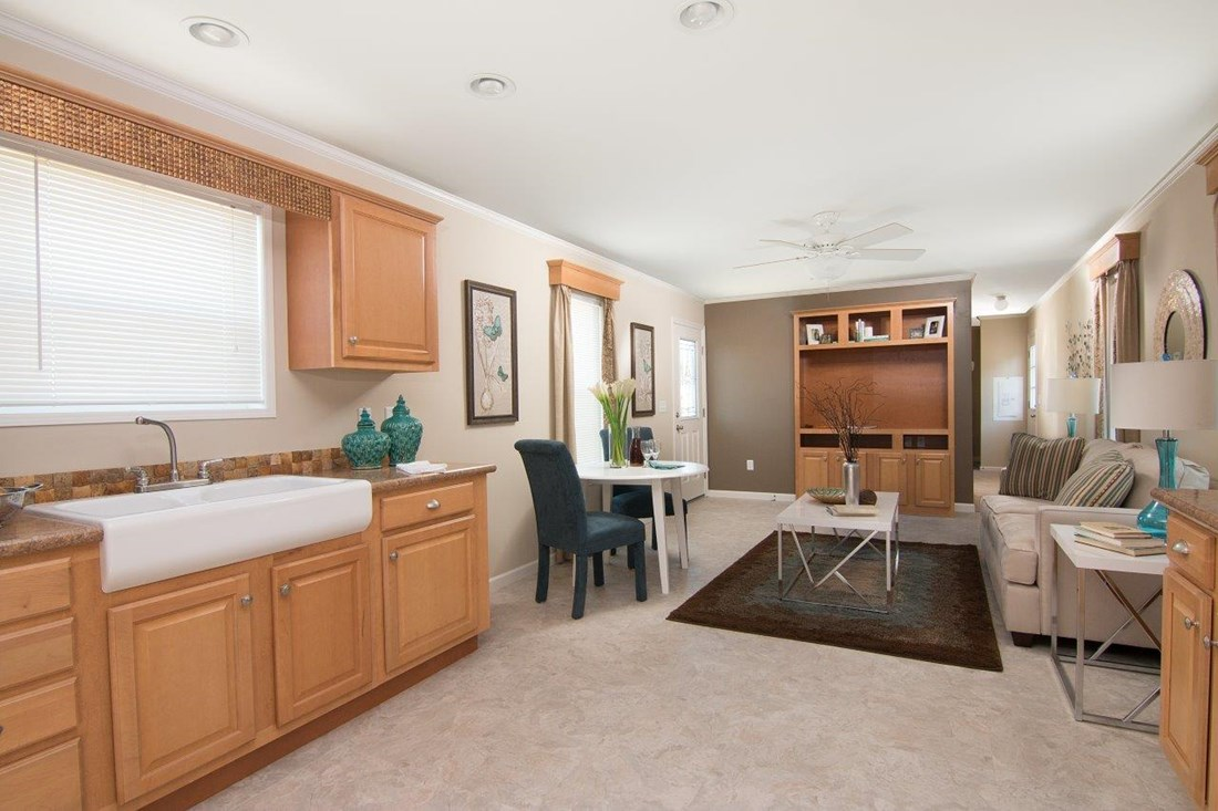 The LECCE 6014-1632 Kitchen. This Manufactured Mobile Home features 2 bedrooms and 1 bath.